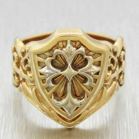 Vintage Estate 14k Men's Solid Yellow Gold St James Cross Shield Ring