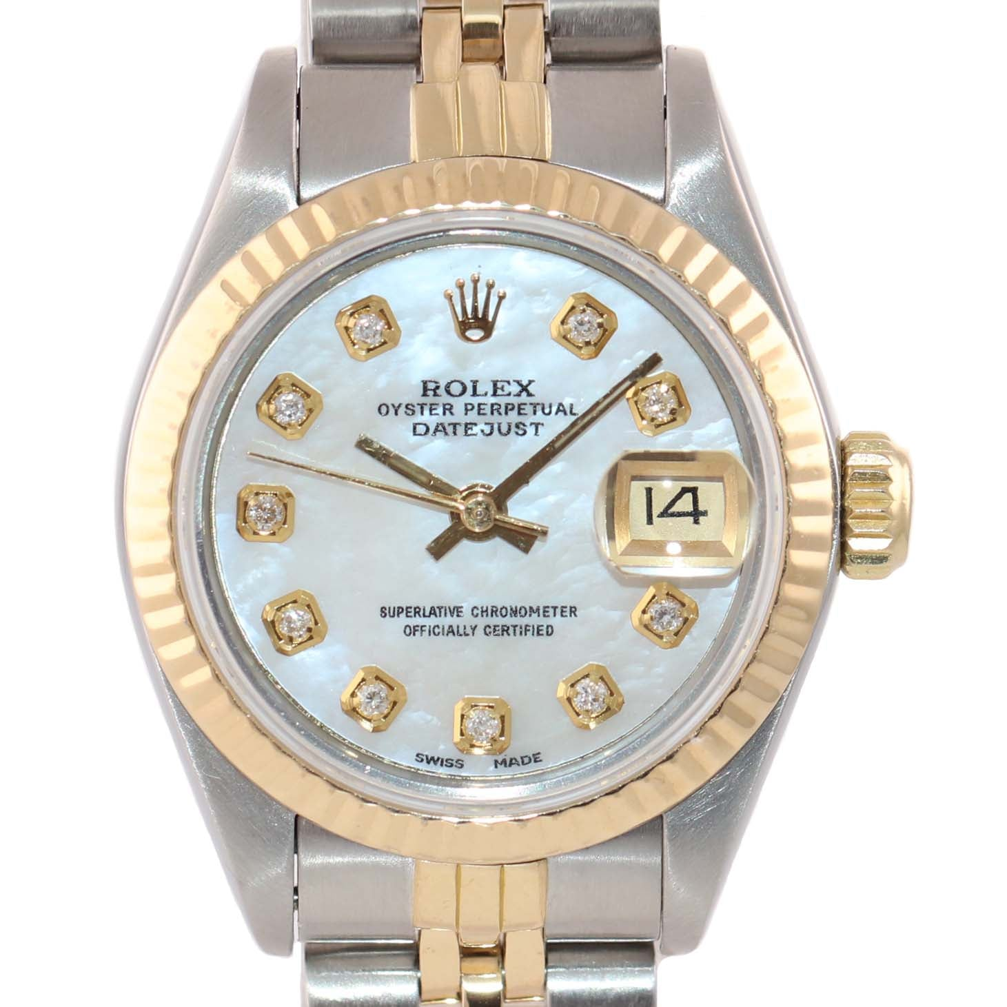 PAPERS Ladies Rolex 67193 Two Tone 18k Gold 26mm MOP Diamond Watch
