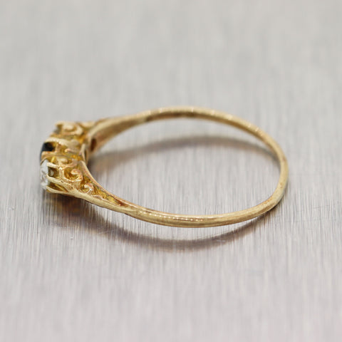 1890's Antique Victorian 14k Yellow Gold 0.30ctw Diamond & Sapphire Wedding Band Ring