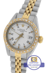 Ladies Rolex Date 24mm 6917 Two-Tone Stainless Diamond White Roman Jubilee Watch