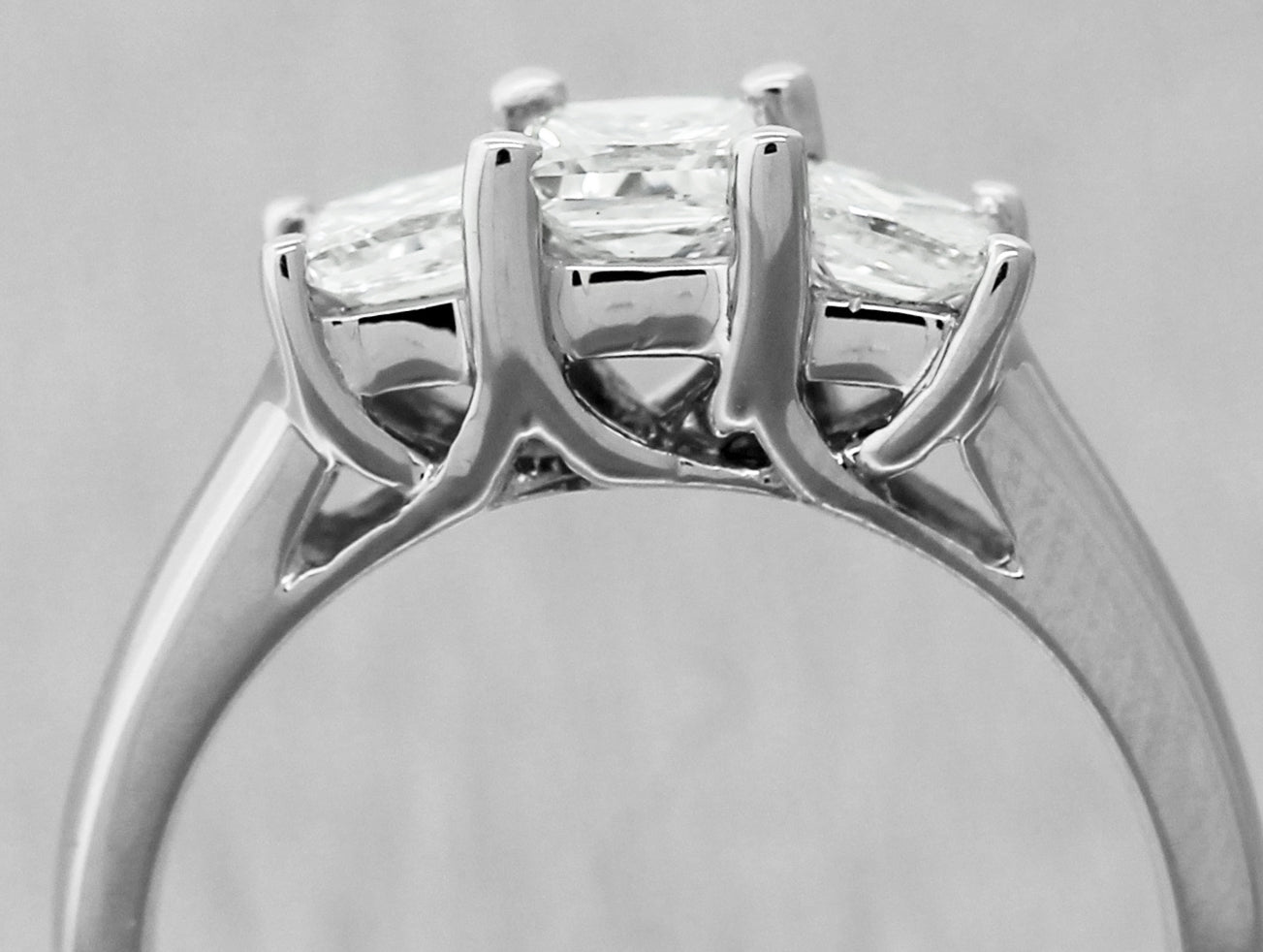 14K White Gold Princess Cut Three Stone 1.10CTW  Diamond Engagement Ring Size 6