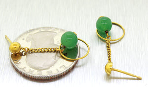 Vintage Estate 14k Solid Yellow Gold Cabochon Jade Dangle Earrings