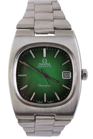 Vintage Omega Rare Green Dial Automatic Geneve Cal 1012 166.0191 Stainless 36mm
