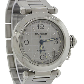 Cartier Pasha Stainless Steel Silver Date Dial 36mm Automatic Watch 2324 w/Box