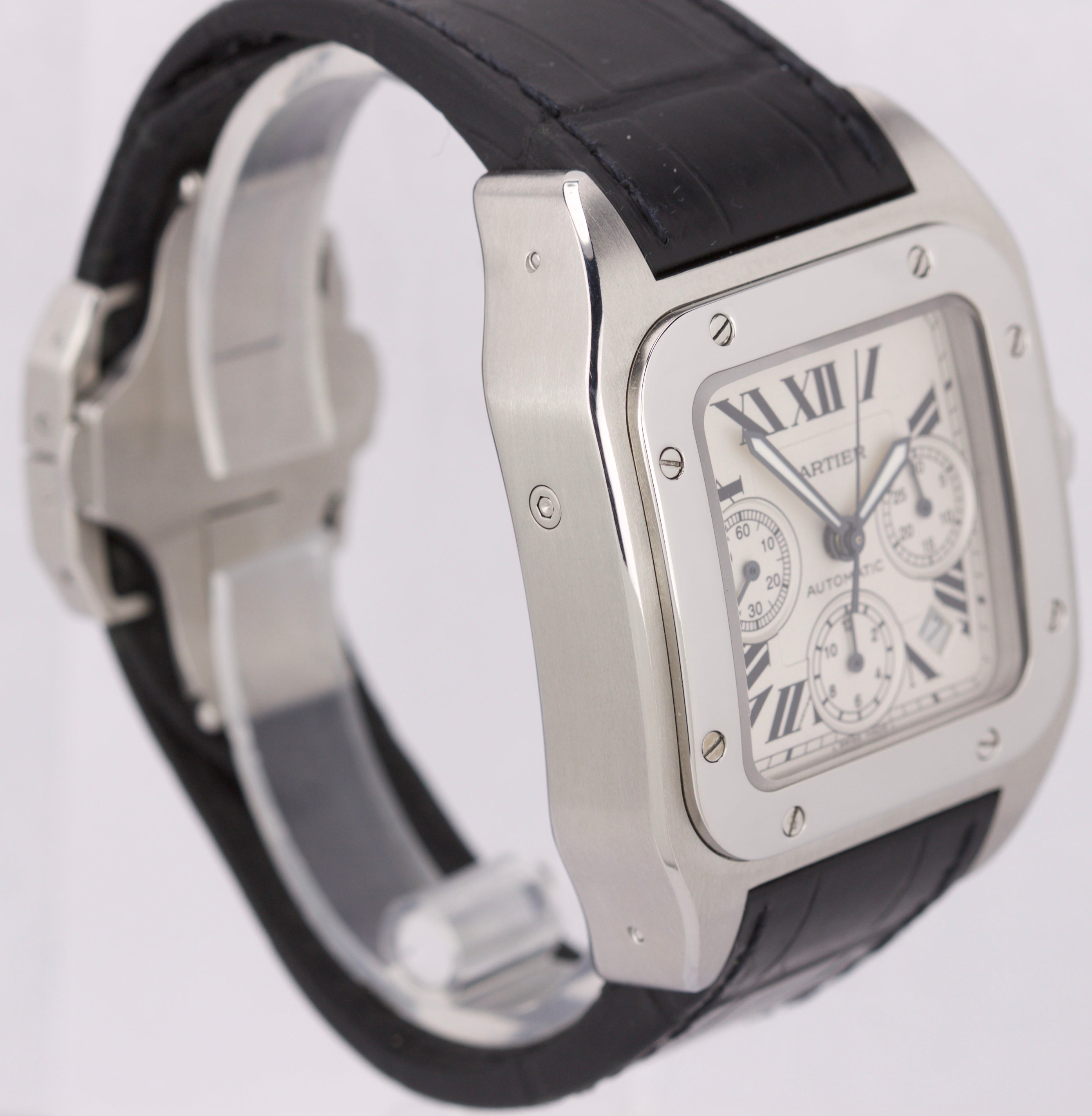 Men's Cartier Santos 100 XL Chronograph 2740 Ivory Stainless 41mm Watch W20090X8