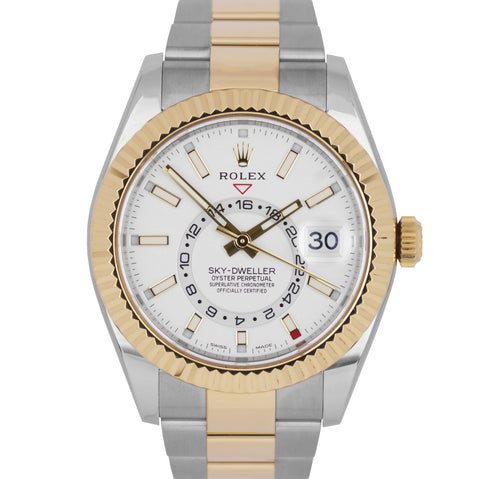 NEW 2020 Rolex Sky-Dweller 18K Two-Tone Gold Stainless White 42mm Watch 326933