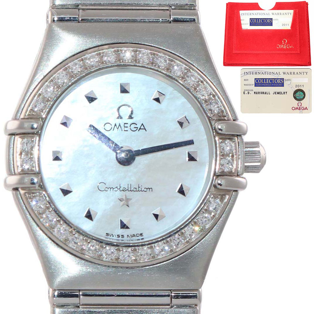 MINT PAPERS Ladies Omega Constellation My Choice Steel 1475.71.00 Diamond Watch