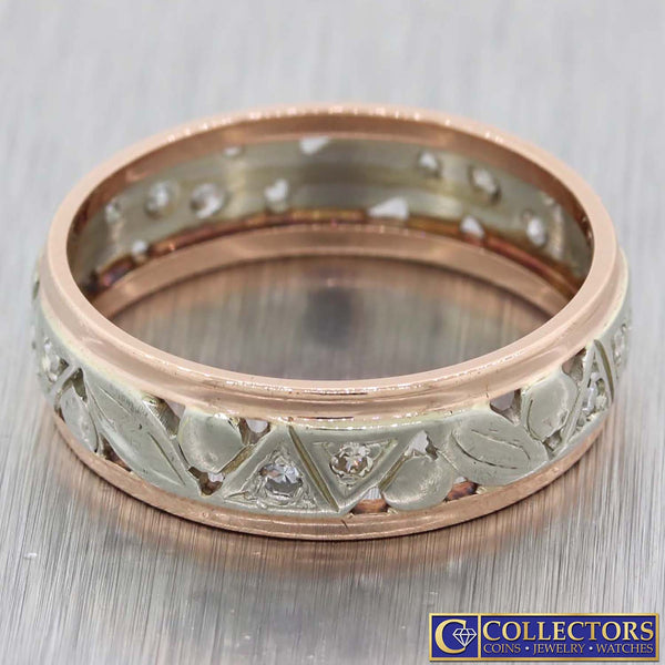 1930s Antique Art Deco 14k Multi Gold .50ctw Diamond 6mm Wide Band Ring G8