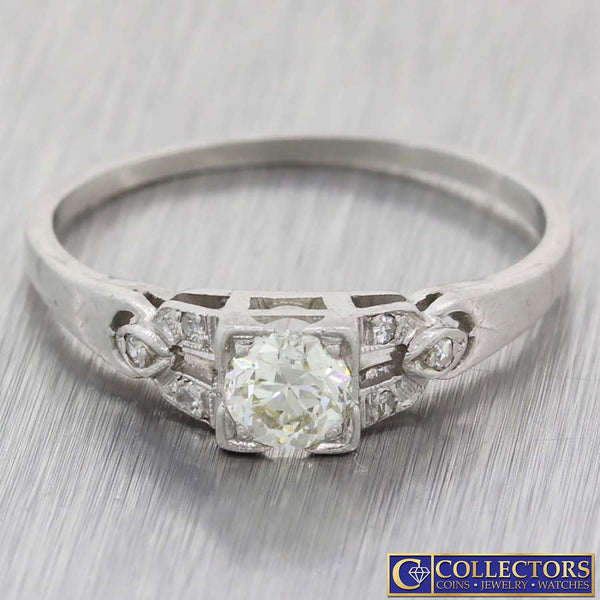 1920s Antique Art Deco Platinum.38ctw J-K/SI1 Diamond Engagement Ring G8