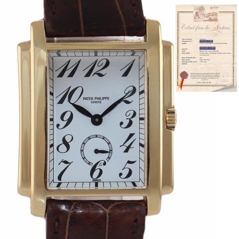 PAPERS Patek Philippe Gondolo Arabic 18K Yellow Gold Leather Manual Watch 5024-J