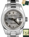 2008 Ladies Rolex DateJust 179179 26mm Roman White Gold President Watch Full Set