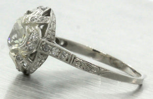 Ladies Antique 1920s Art Deco 2.42ctw Diamond Platinum Engagement Ring EGL USA