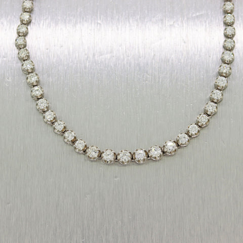 Vintage Estate 14k White Gold Graduated 9.40ctw Diamond Tennis Necklace
