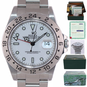 WARRANTY PAPERS Rolex Explorer II Swiss Only White 16570 Polar Date GMT Watch