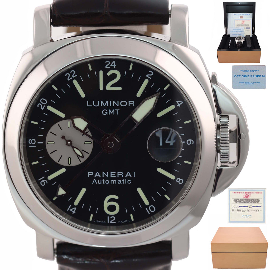 PAPERS Panerai PAM 88 Luminor GMT Date Automatic Black 44mm Steel Watch PAM00088