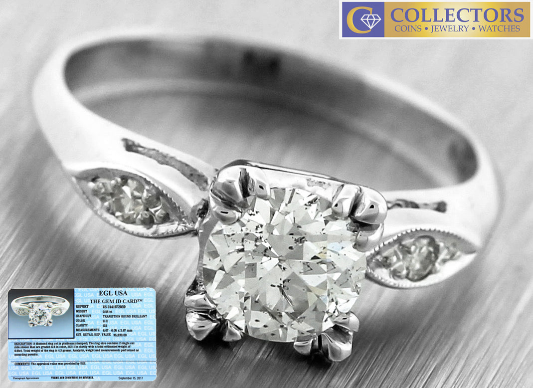 Ladies Vintage Estate Platinum 0.93ctw Diamond Engagement Ring EGL USA