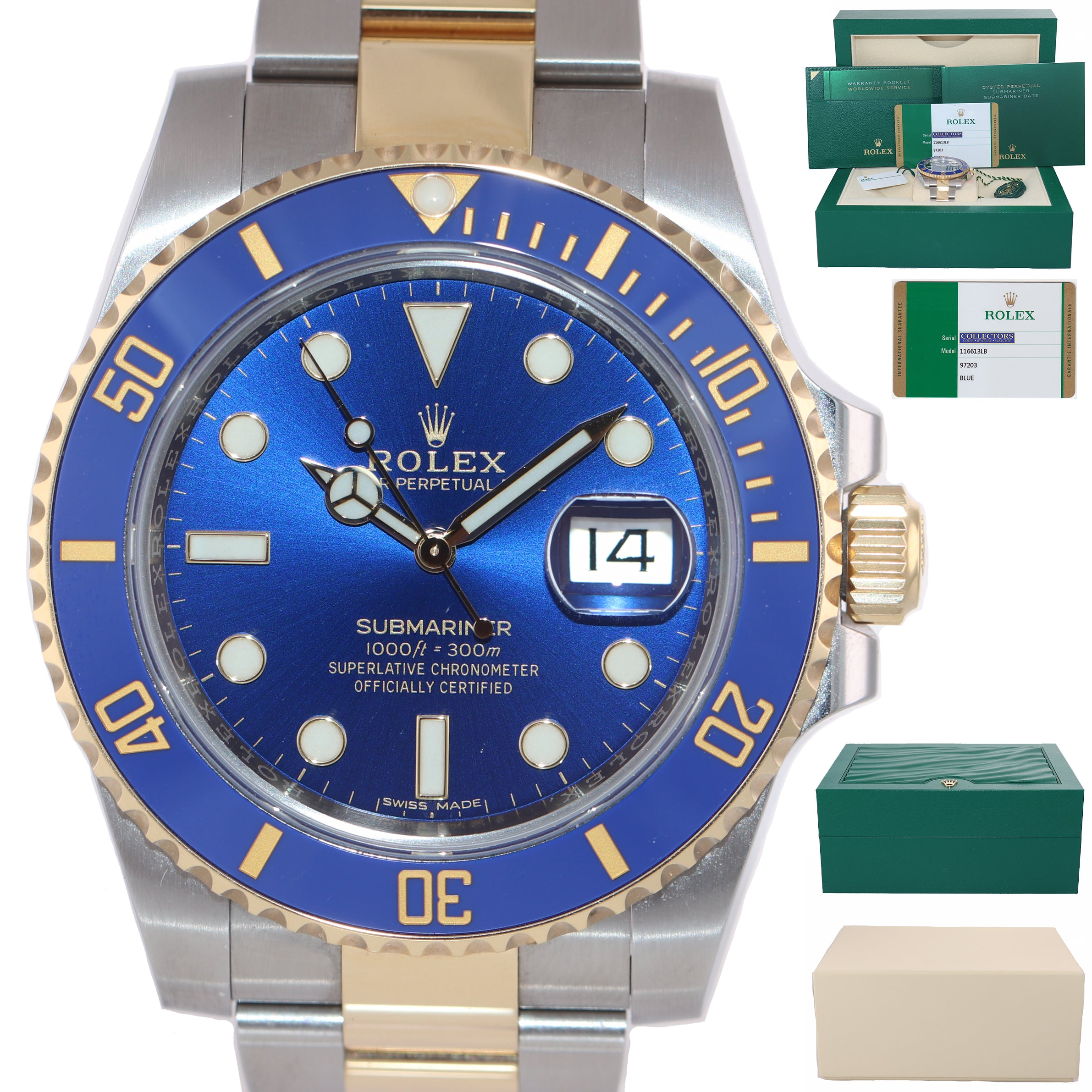 MINT 2018 BOX PAPERS Rolex Submariner Blue Ceramic 116613 Two Tone Gold Watch