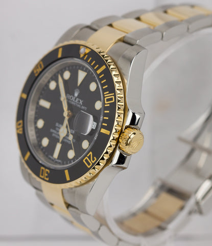 MINT 2015 Rolex Submariner Ceramic 116613 N LN Two-Tone Gold Black Dive Watch