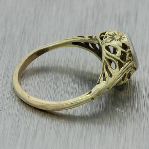 1930s Antique Art Deco Filigree 14k Yellow Gold Engagement Ring Mounting Setting