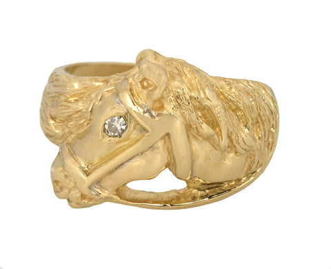 Modern 14k Yellow Gold 0.03ct Diamond Horse Head Equestrian Cocktail Ring