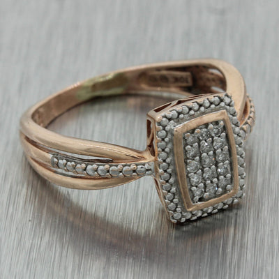 Vintage Estate 10k Solid Rose Gold .10ctw Diamond Pave Split Shank Ring