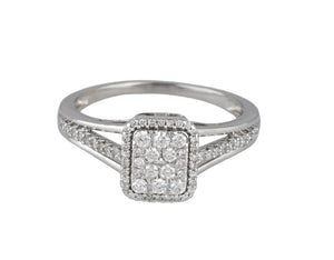 Womens Modern 14K White Gold 0.64ctw Diamond Cluster Invisible Set Cocktail Ring