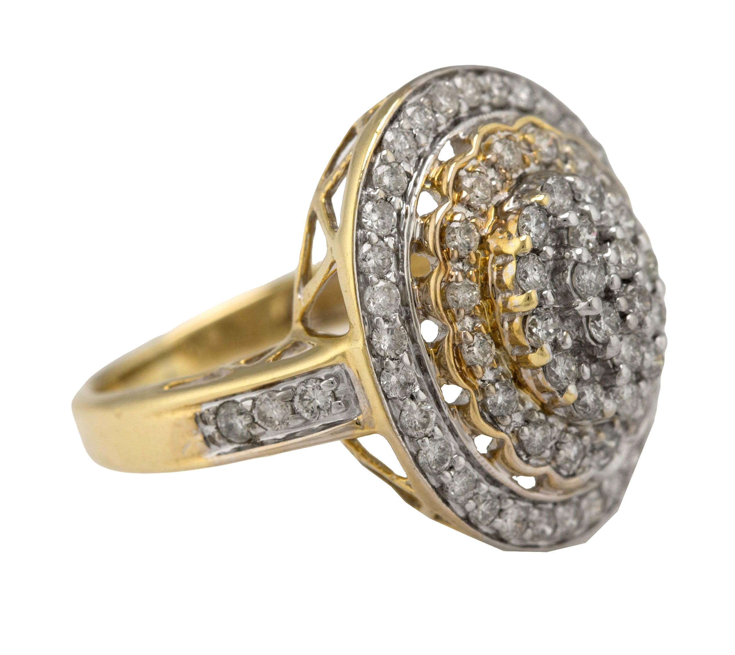 Ladies Elegant 14K Yellow Gold 1.46ctw Diamond Cluster Cocktail Ring