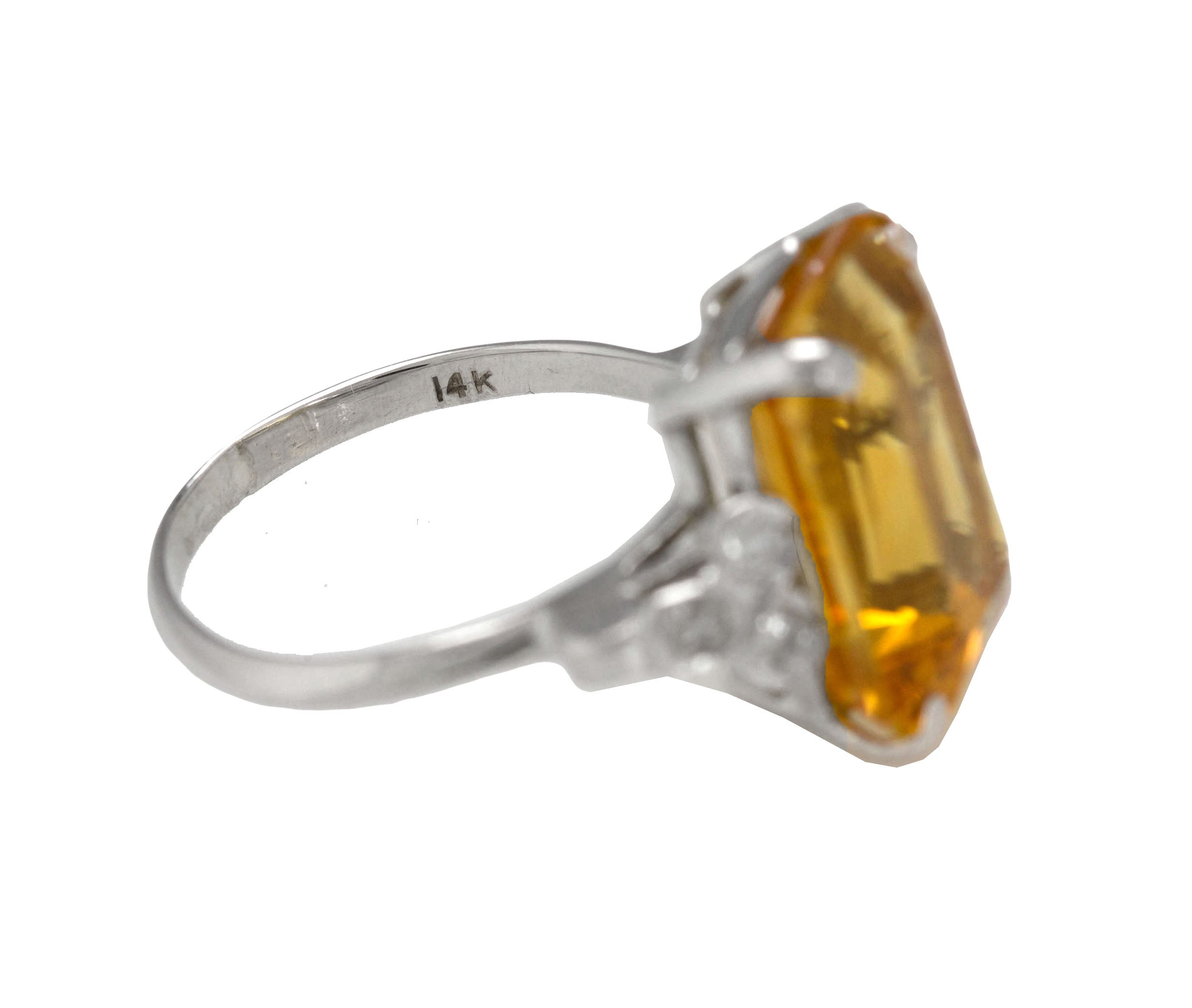 Ladies Modern 14K White Gold 16x12mm Citrine Emerald Cut Diamond Cocktail Ring