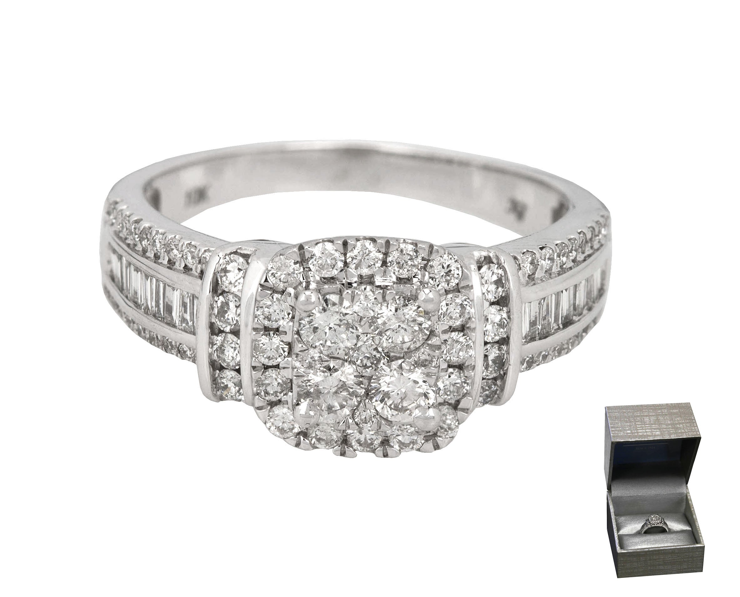 Zales 10k White Gold 1 15ctw Round Diamond Cushion Halo Frame Engageme Collectors1946 Com