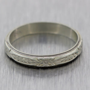 1930's Antique Art Deco 18k White Gold Engraved Floral Wedding Band Ring