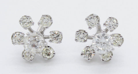 1940s Antique 14k White Gold 0.70ctw Diamond Stud Earrings w/ 0.85ctw Jackets