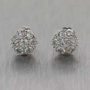 Modern 14k White Gold 2.80ctw Diamond Flower Cluster Earrings