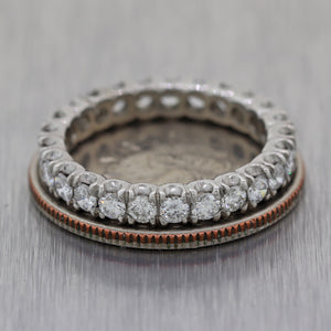 1940's Vintage Estate Platinum 1.75ctw Diamond Eternity Wedding Band Ring