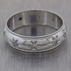 1940's Antique Vintage Estate 14K White Gold 0.20ctw Diamond Wedding Band Ring