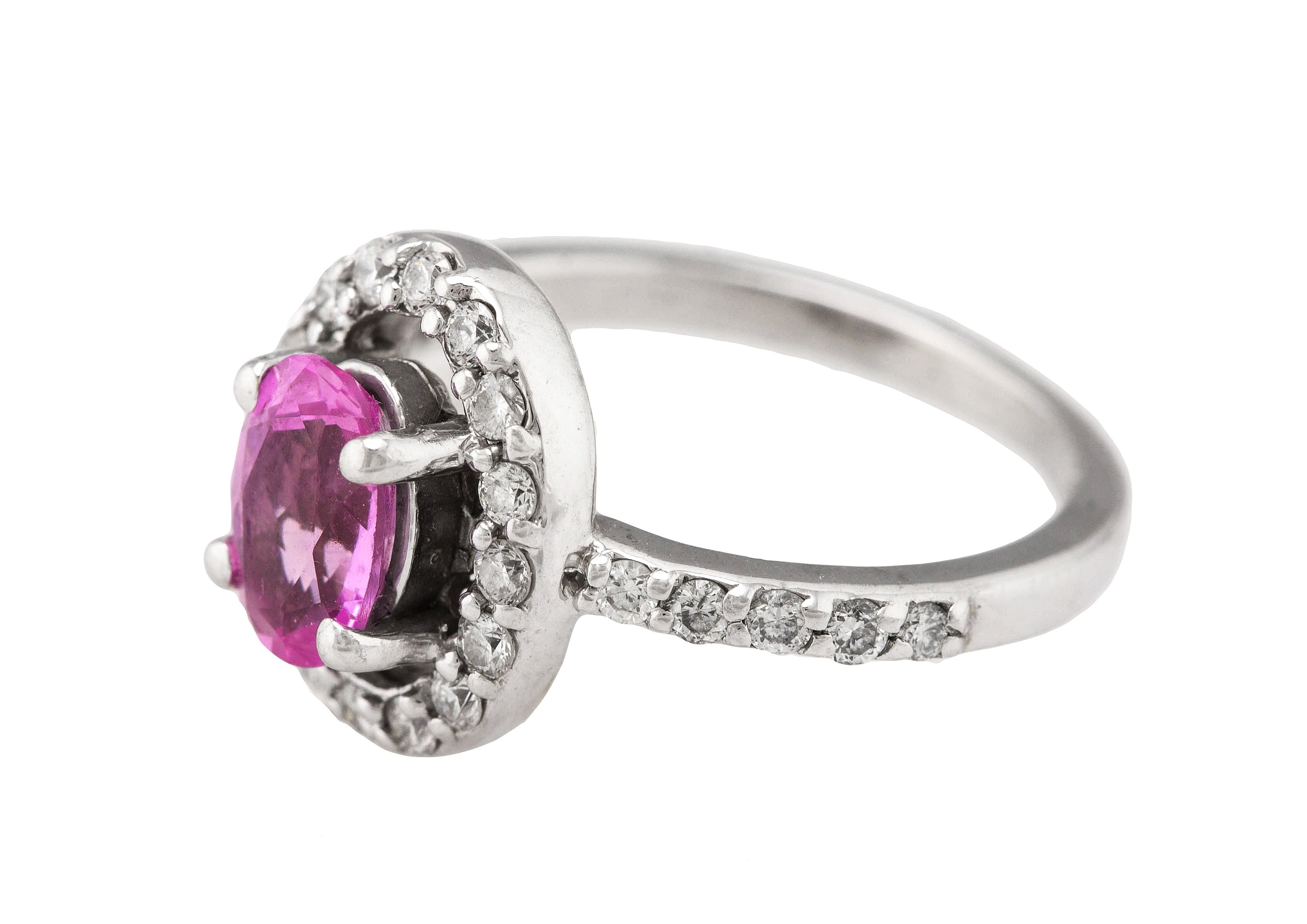 Lovely Ladies 14K White Gold 0.65ctw Pink Sapphire Diamond Halo Anniversary Ring