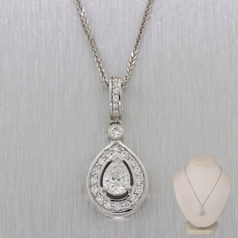 "Modern 14k White Gold .82ct Pear Shaped Diamond 1.40ctw Halo 16"" Necklace"
