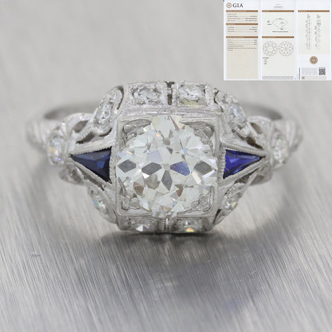 1920s Antique Art Deco Platinum 1.18ctw Diamond Sapphire GIA Engagement Ring