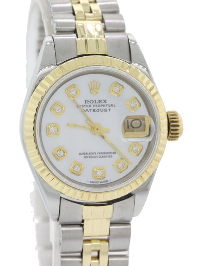 Ladies Rolex DateJust 26mm 6917 14k Yellow Gold Steel Diamond MOP Watch w/Box F8