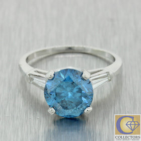 Vintage Estate Platinum 2.70ctw Blue Diamond Tapered Baguette Engagement Ring
