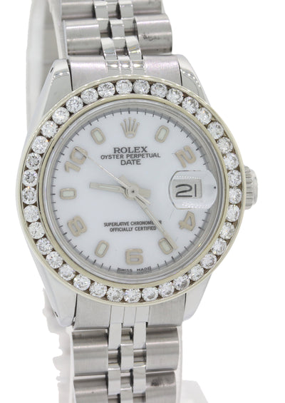 Ladies Rolex Date 26mm 6917 DateJust Steel Diamond White Arabic Watch w/ Box F8
