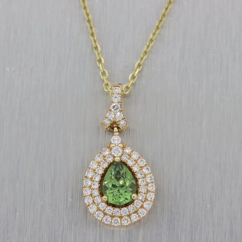 Modern 14k Yellow Gold 1.25ctw Tsavorite & Diamond Necklace