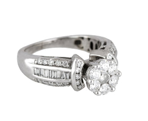 Women's 14K White Gold 1.11ctw Diamond Cluster Invisible Set Engagement Ring