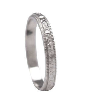 Antique Art Deco Estate 14K White Gold Etched 3mm Eternity Milgrain Band Ring