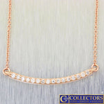 Modern Estate 14k Rose Gold .17ctw I/SI1 Diamond Bar Chain Necklace G8