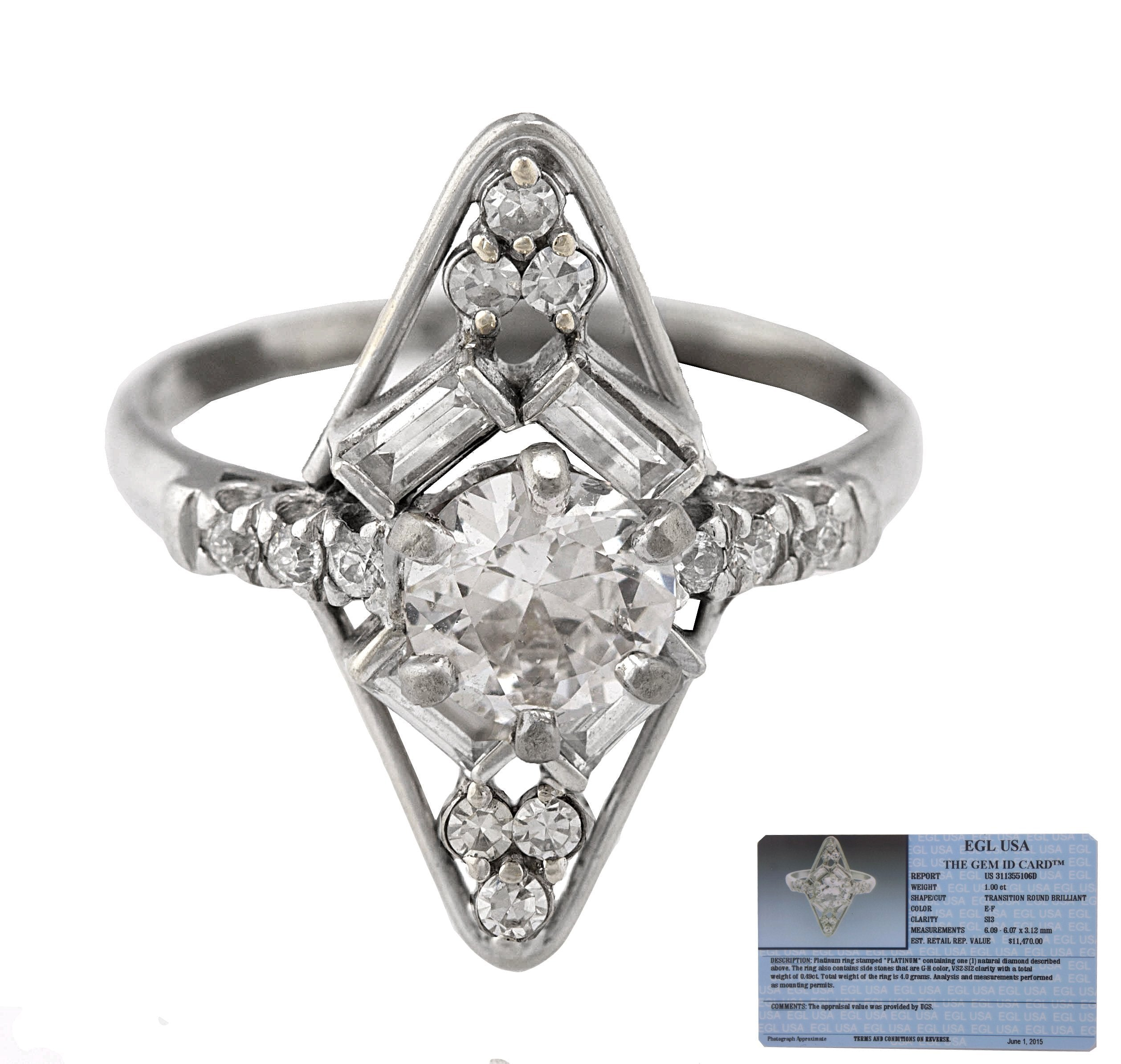 Ladies Modernist Platinum 1.00CT E-F Transition Round Brilliant Diamond Ring EGL