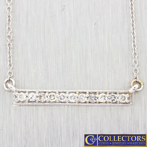 Modern Estate 14k White Gold .22ctw I/SI1 Diamond Bar Chain Necklace G8
