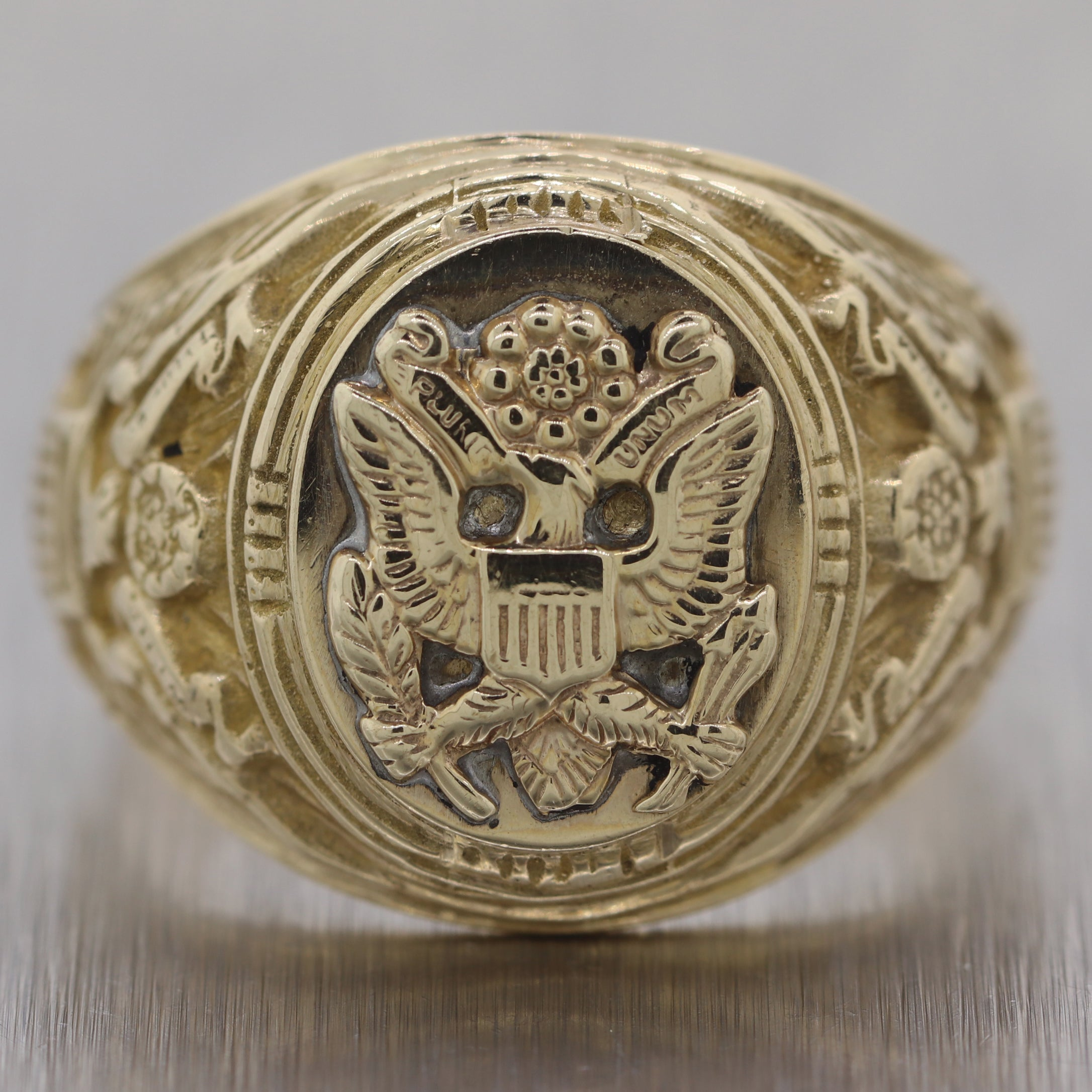 Antique Vintage Estate 10k Yellow Gold United States Army Ring