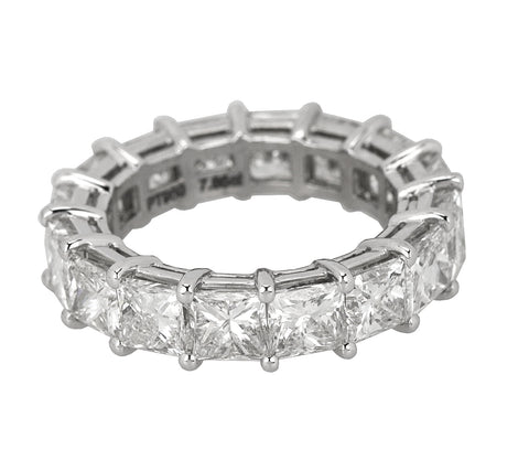 Womens Platinum 7.85ct Princess Cut Diamond 5mm Wide Eternity Wedding Band Ring