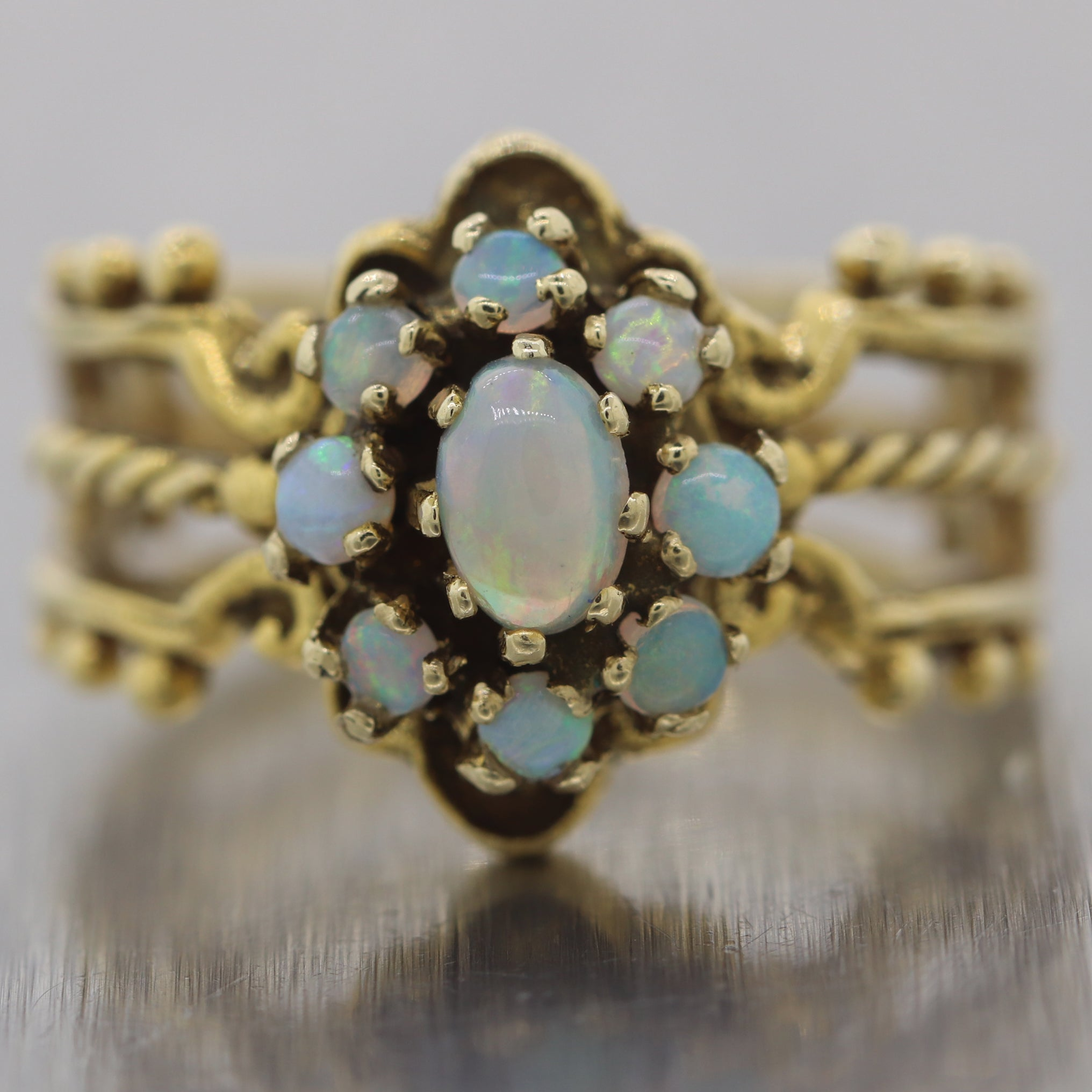 Antique Vintage Estate 14k Yellow Gold Opal Ring