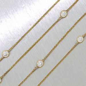 "Modern 14k Yellow Gold Cubic Zirconia By The Yard 35"" Necklace"